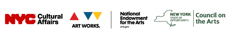 the logos for Signature's Theatre's major contributors including the red and black logo for NYC cultural affairs, the red, white, blue and yellow triangles in the Art Works logo, the text logo for the National Endowment for the Arts, and an outline of New York state in green for the New York Council on the Arts