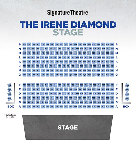 The seating chart for the Irene Diamond stage at Signature Theatre, with rows A to P and two four-seat side boxes