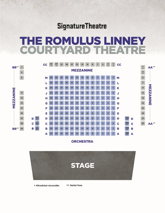 The seating chart for the Romulus Linney Courtyard Theatre at Signature Theatre, a flexible theatre with a wrap around mezzanine, two orchestra boxes and rows A to M in a sample black box configuration