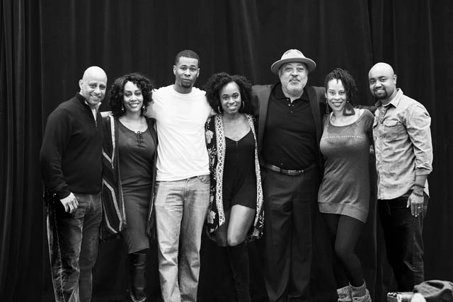 Director Ruben Santiago-Hudson and playwright Dominique Morisseau with the cast of Paradise Blue.